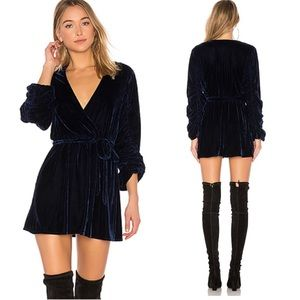 Tularosa tawney velvet dress blue size m